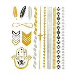 FLASH TATTOO MIXED DESIGNS  METALLIC TEMPORARY TATTOO (TO-8236)
