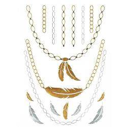 FLASH TATTOO NECKLACES AND FEATHERS  METALLIC TEMPORARY TATTOO (TO8236)