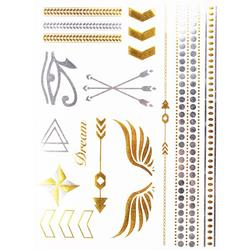 FLASH TATTOO MIXED DESIGN SYMBOLS  METALLIC TEMPORARY TATTOO (TO8237)