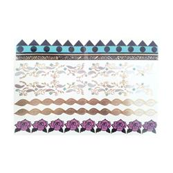 FLASH TATTOO BRACELETS COLORED MIXED DESIGNS (FT-0008) DUST+CREAM