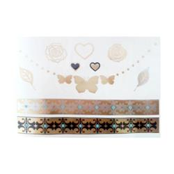 FLASH TATTOO ROSES AND BUTTERFLIES MIXED DESIGNS (FT-0005) DUST+CREAM